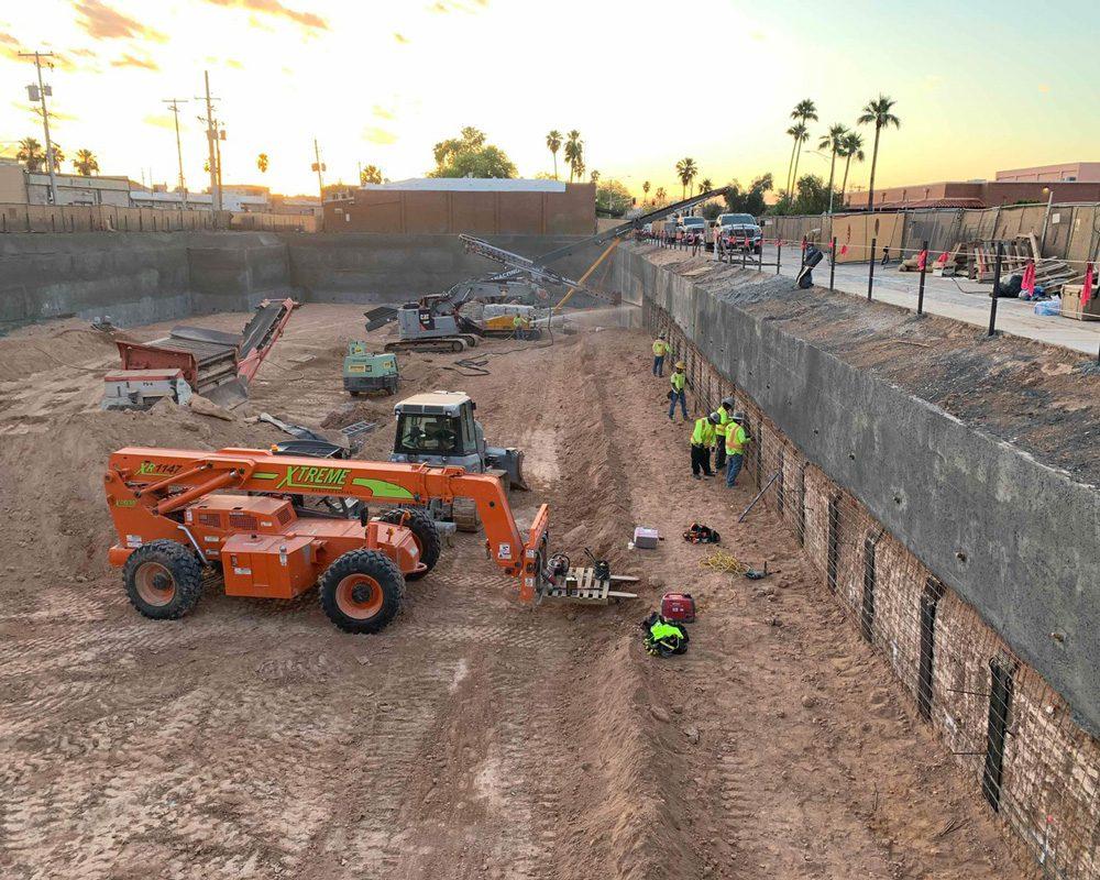 Xtreme XR1147 & Mini Excavators Working on Earth Retention & Mass Excavation Work