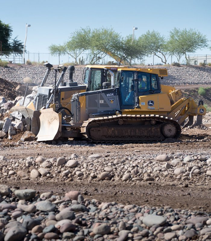 DEERE 850K Moving Material at Tempe Downstream Dam Replacement
