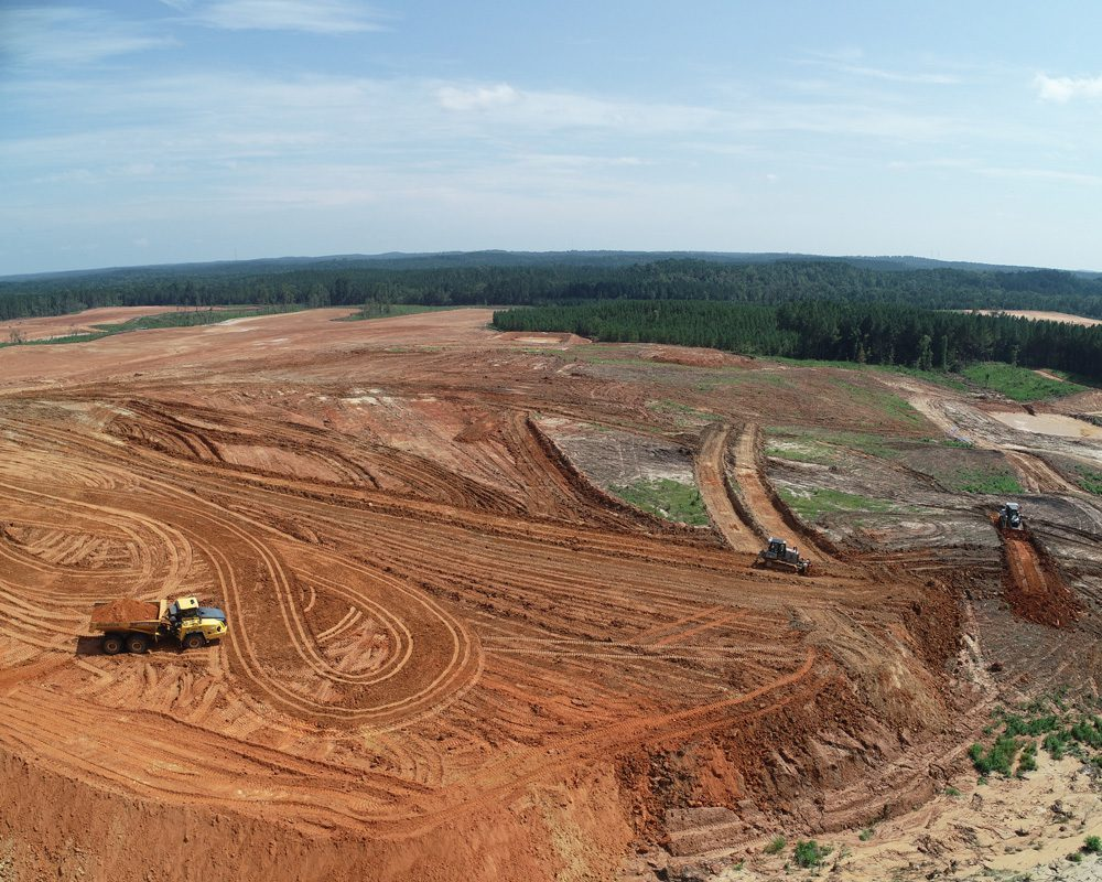 Aerial View of Truck & Excavators at Meridian Solar Farm