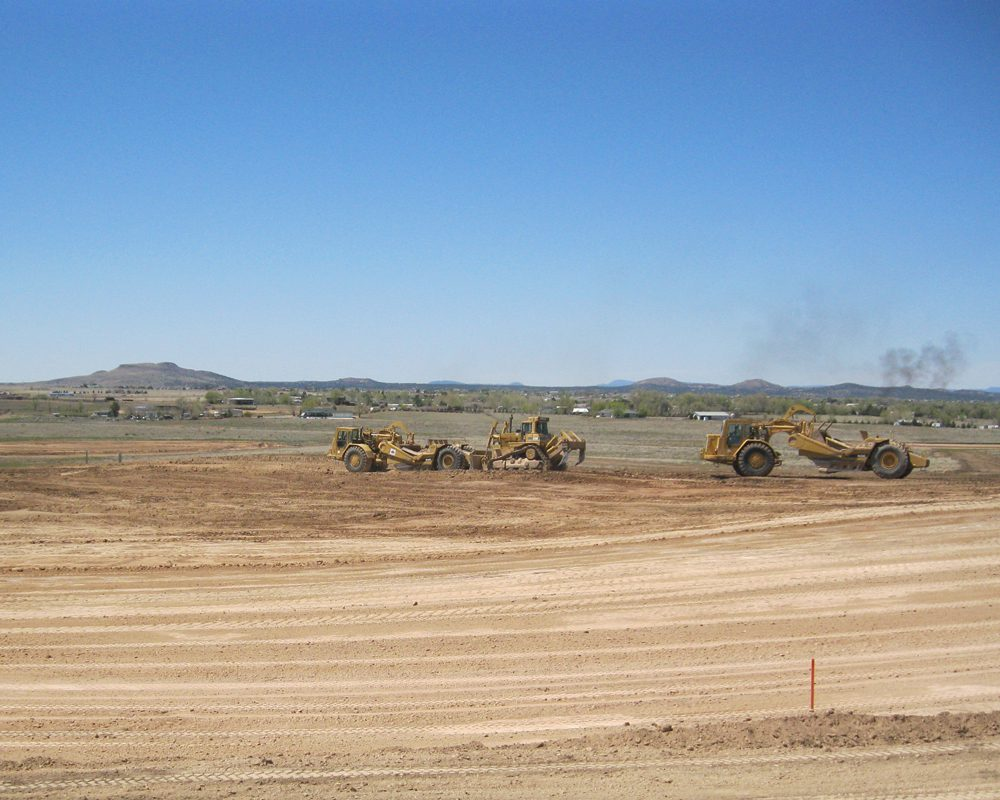 Equipment Driving Through Chino Valley Project Site
