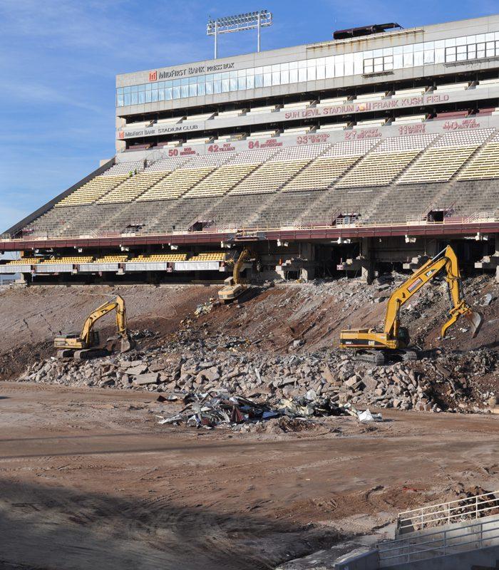 Excavators in Action at Sun Devil Stadium Renovation
