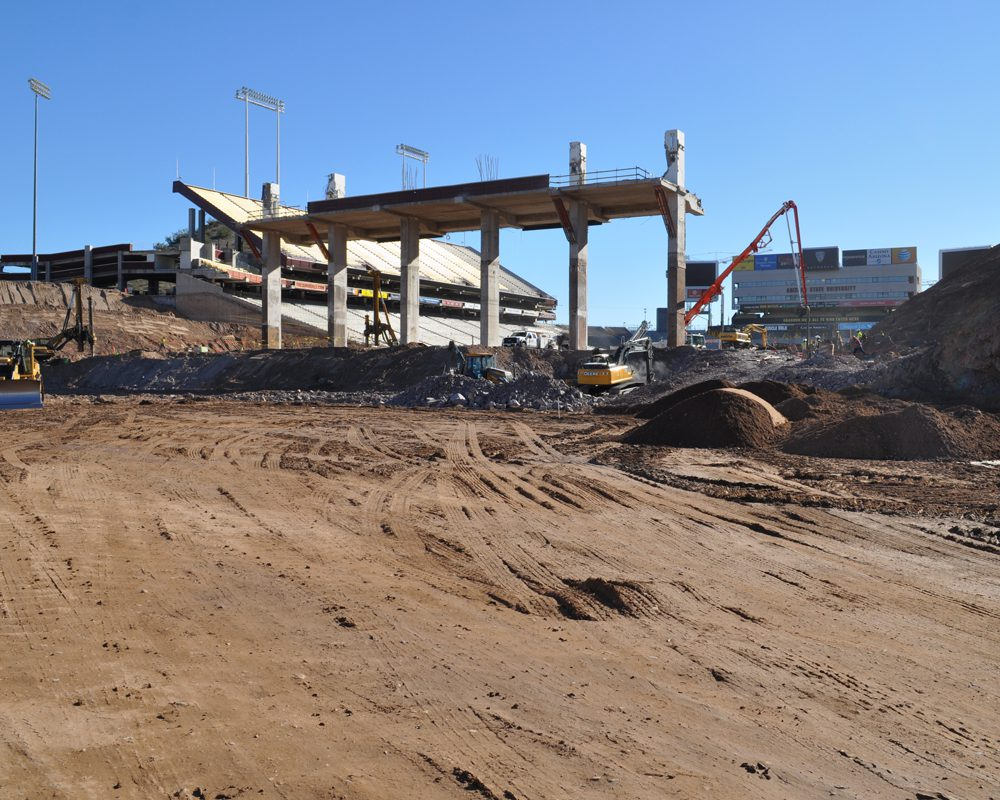 Excavators in Action at Sun Devil Stadium Renovation Project