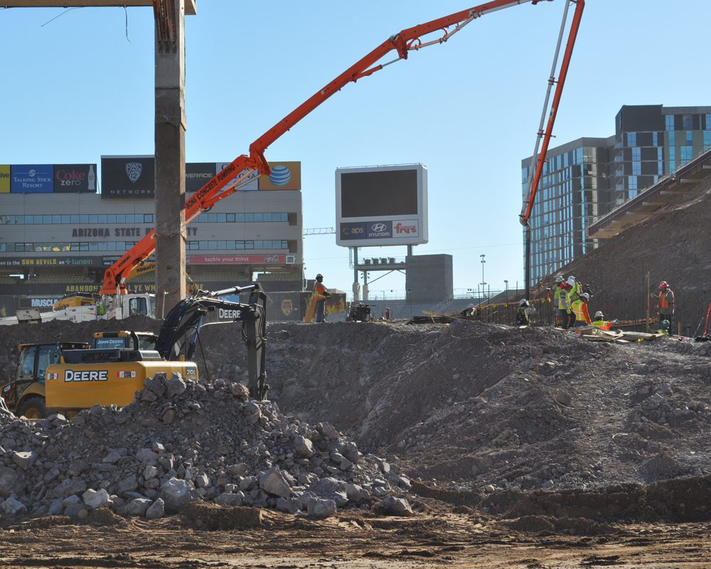Heavy Equipment Working at Sun Devil Stadium Renovation Project