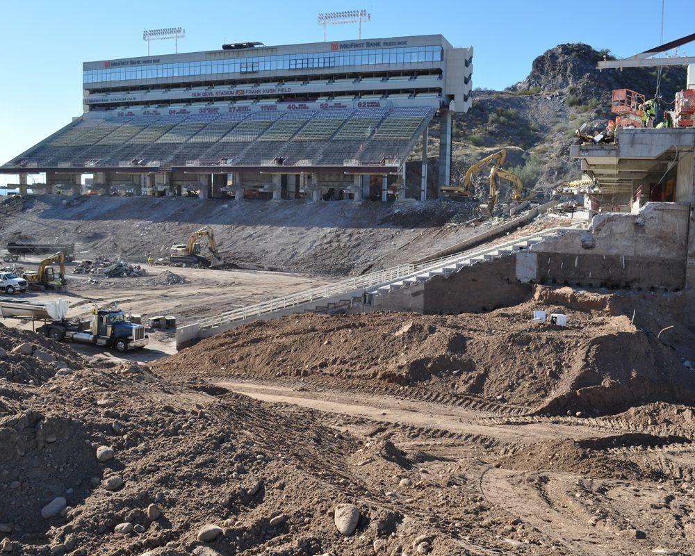 Bulldozer and Trucks at Sun Devil Stadium Renovation