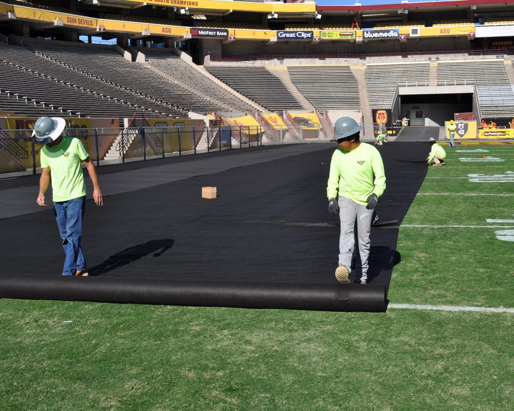 Blount Crew Rolling Out Black Tarp at the Sun Devil Stadium Renovation