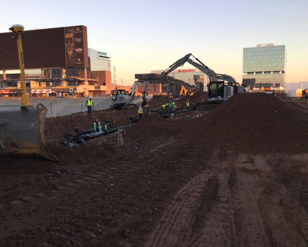 Blount Crew and Heavy Vehicles Working on the Sun Devil Stadium Renovation Project
